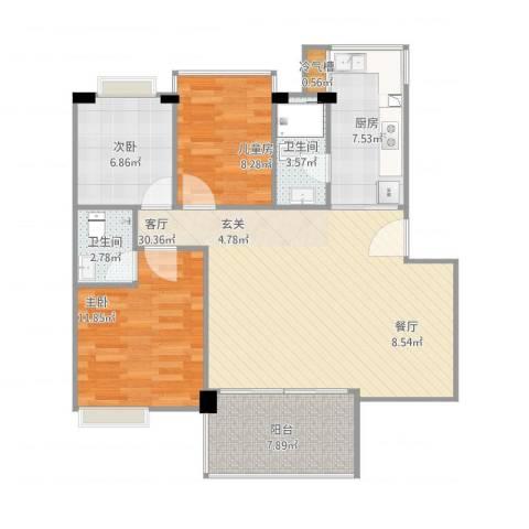 江门市凯茵豪庭B区12幢03单元3室1厅2卫1厨108.00㎡户型图