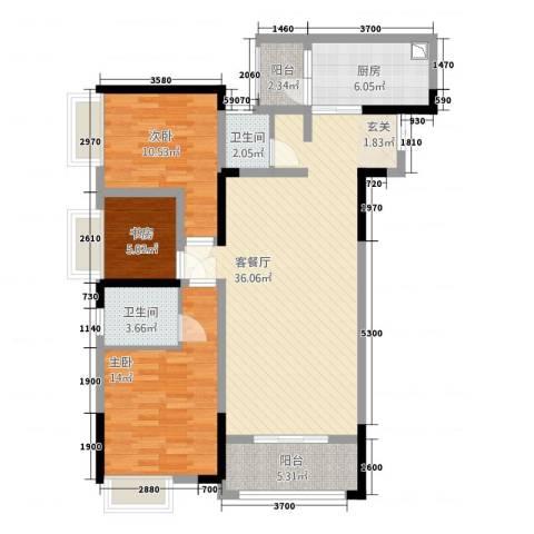 欣光・名车广场3室1厅2卫1厨123.00㎡户型图