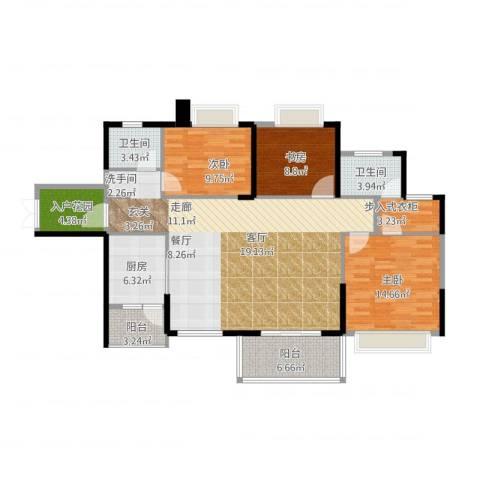 坤元・水木清华3室1厅2卫1厨150.00㎡户型图