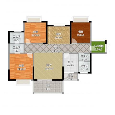 坤元・水木清华3室1厅3卫1厨152.00㎡户型图