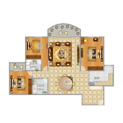 永升丽景3室1厅2卫1厨187.00㎡户型图