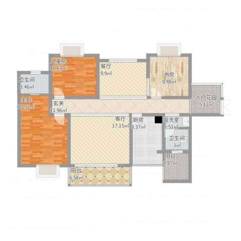 坤元・水木清华3室3厅2卫1厨158.00㎡户型图