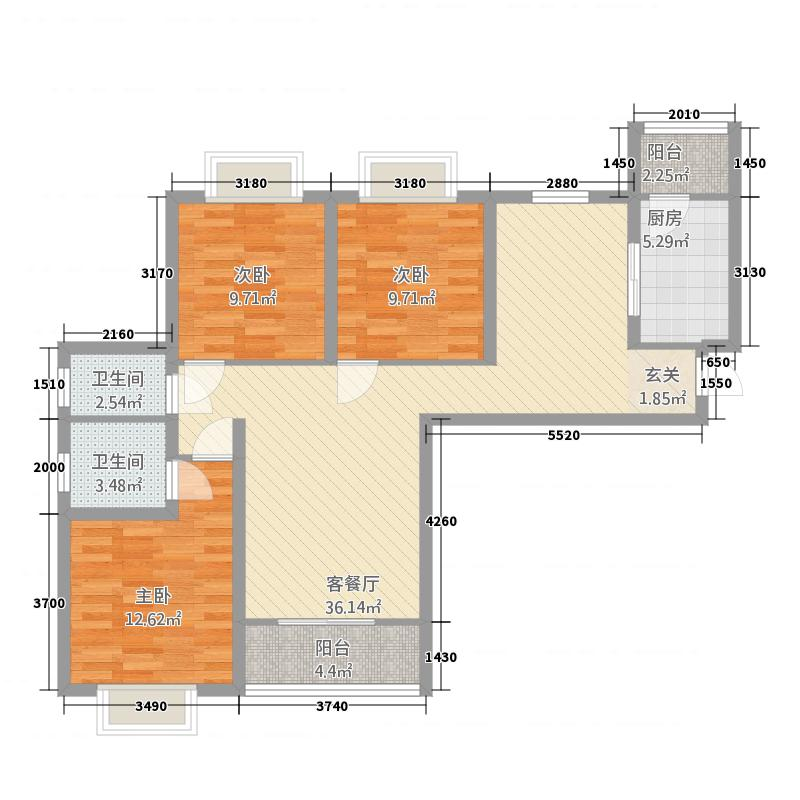 敦煌阳光现代城124.20㎡E户型3室2厅2卫1厨
