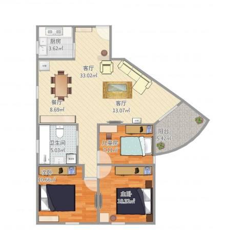 联升大厦3室1厅1卫1厨118.00㎡户型图