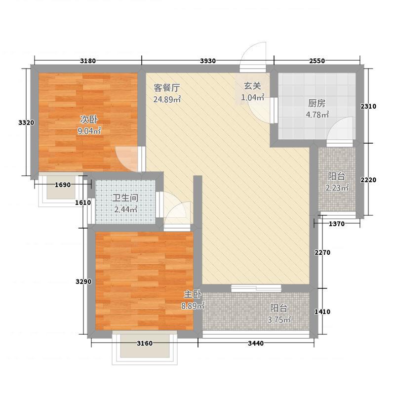 敦煌阳光现代城82.20㎡D户型2室2厅1卫1厨