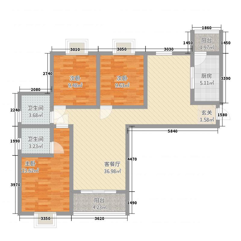 敦煌阳光现代城12.20㎡A户型3室2厅2卫1厨