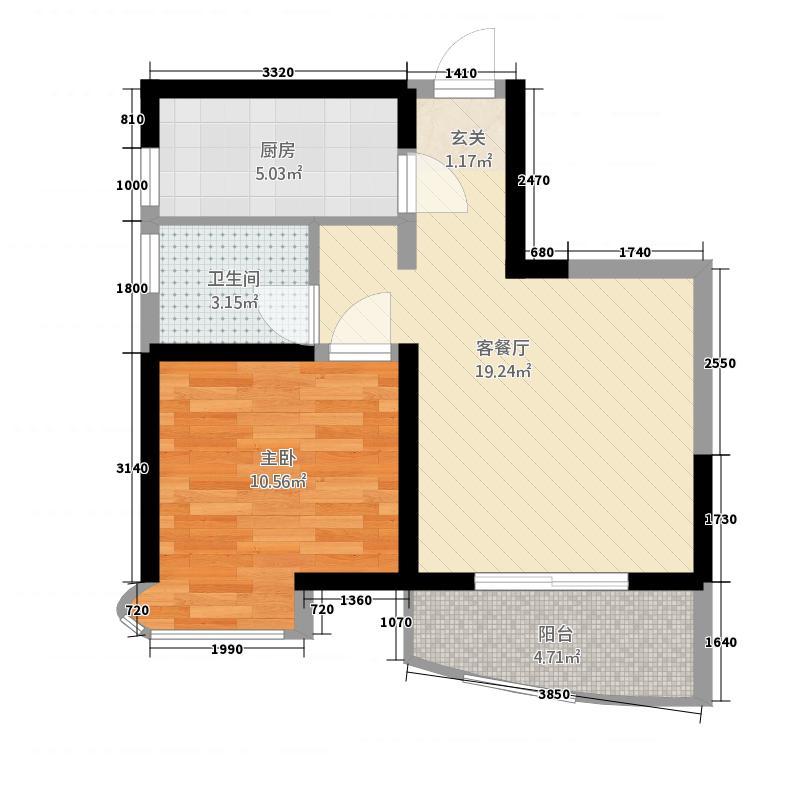罗曼帝克3155.20㎡G3户型1室1厅1卫1厨