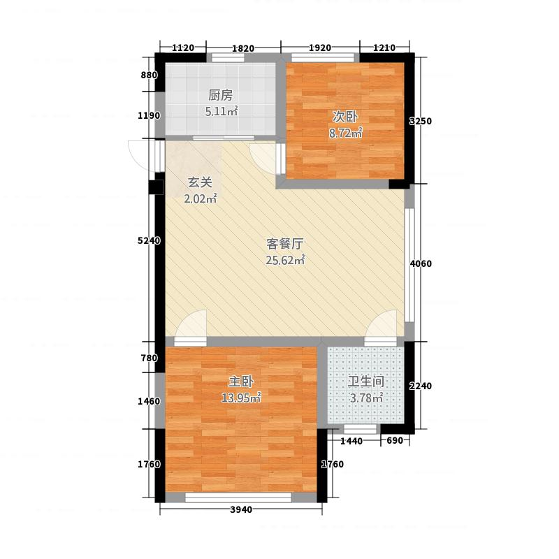 金城国际广场81.42㎡A户型3室2厅1卫1厨