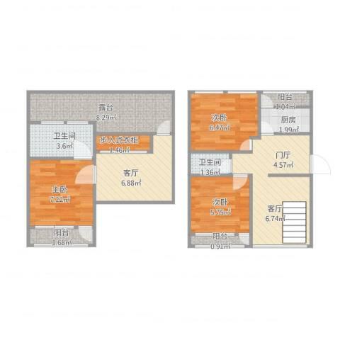 颐阳山水居3室1厅2卫1厨82.00㎡户型图