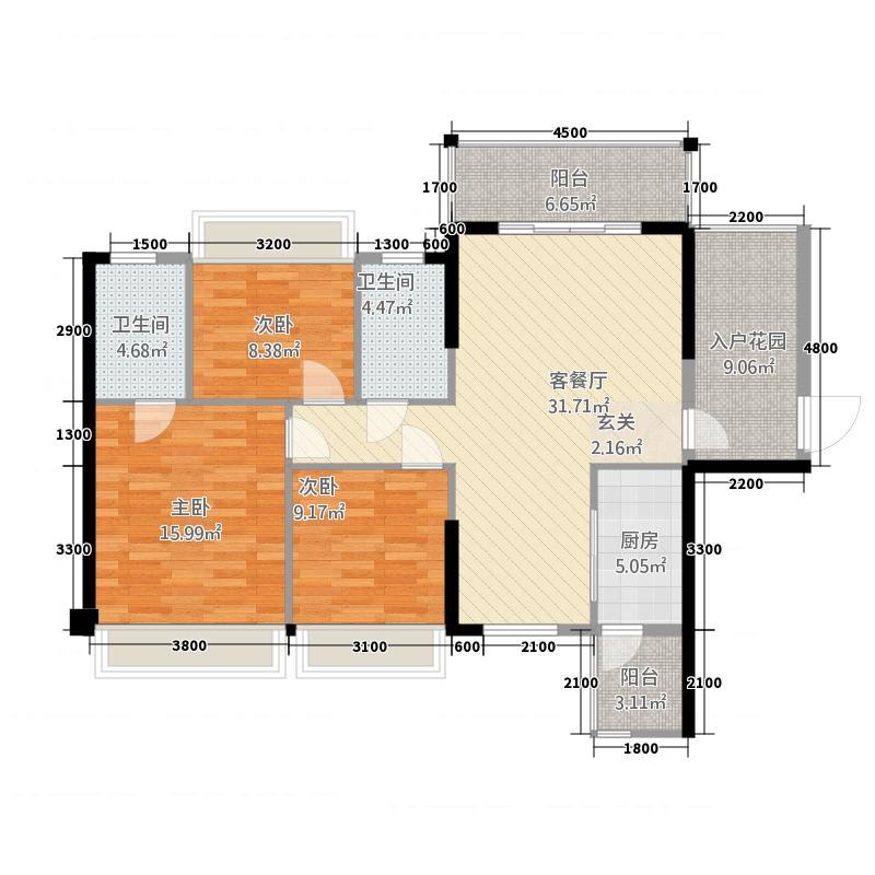 富森领峰71121.45㎡07号楼01户型3室2厅2卫1厨