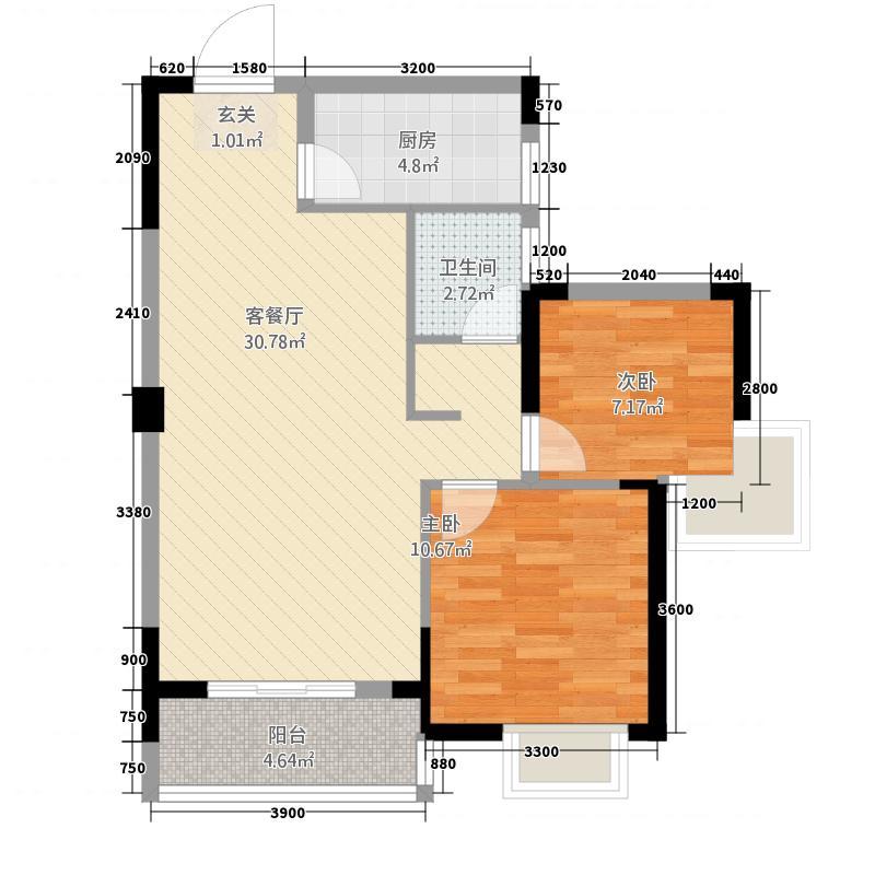 紫菘紫润尚城1384.56㎡1、3#楼B户型2室2厅1卫1厨