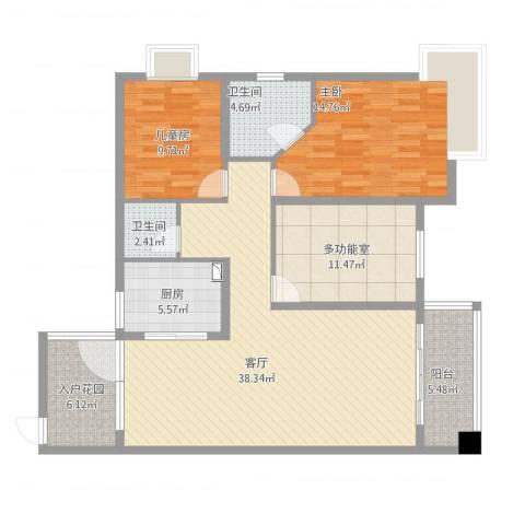 和园小区2室1厅2卫1厨140.00㎡户型图