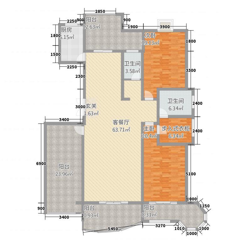 名仕豪庭2224.20㎡K户型2室2厅2卫1厨