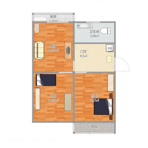 联强小区2室1厅1卫1厨86.00㎡户型图