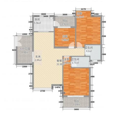 浅水湾・中央公园3室1厅2卫1厨101.54㎡户型图