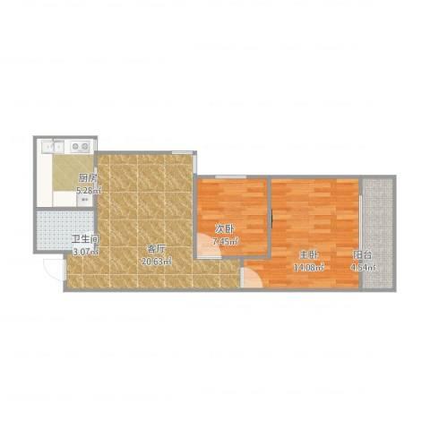 麒麟花园2室1厅1卫1厨75.00㎡户型图