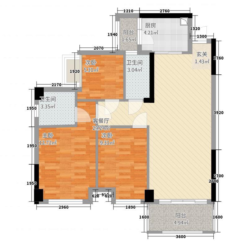 广海新城67.64㎡一期6座标准层05户型3室2厅2卫1厨