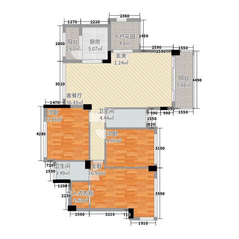 广海新城25135.20㎡一期2/5座标准层03户型3室2厅2卫1厨