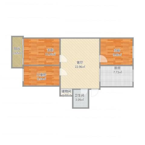 宁工二村3室1厅1卫1厨91.00㎡户型图