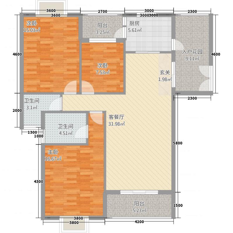 浅水湾・中央公园132.22㎡C户型3室2厅2卫