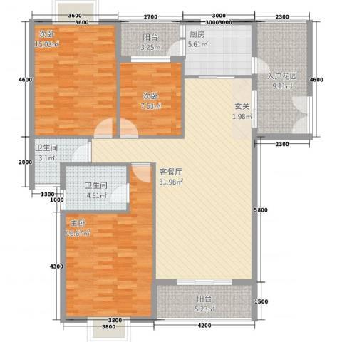 浅水湾・中央公园3室1厅2卫1厨132.00㎡户型图