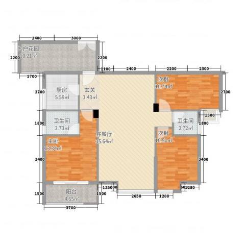 浅水湾・中央公园3室1厅2卫1厨124.00㎡户型图