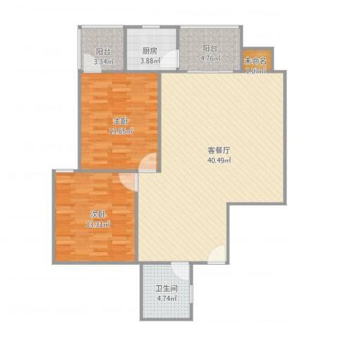 地铁首府2室1厅1卫1厨114.00㎡户型图