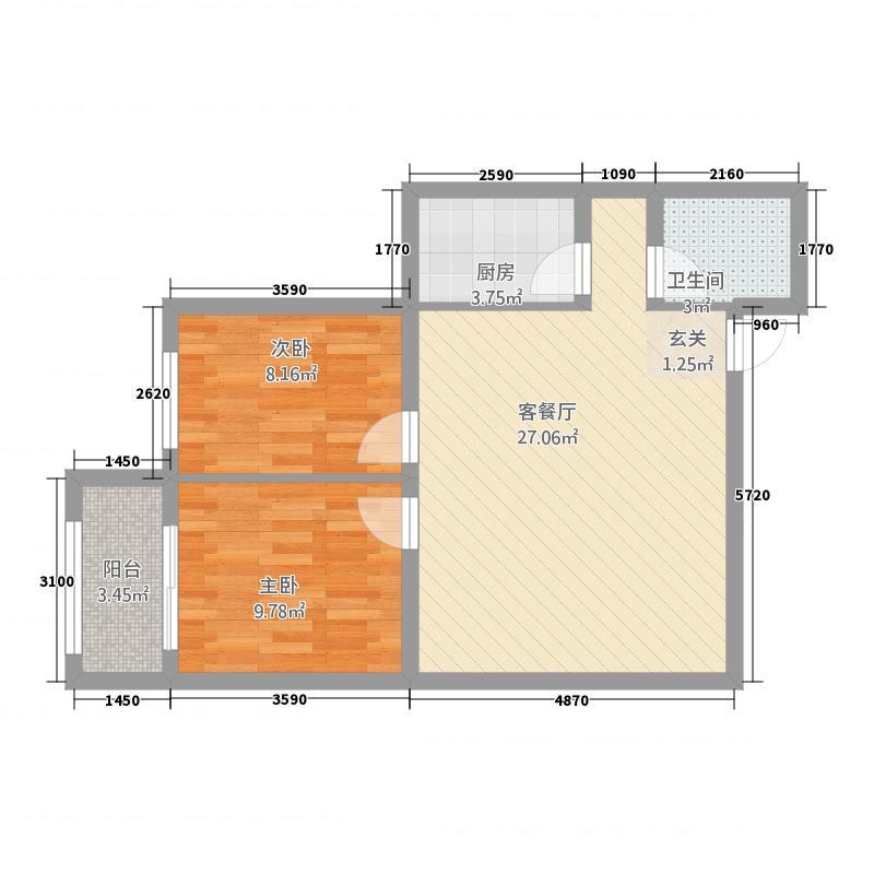 龙达传城2156.62㎡QQ图片户型2室1厅1卫