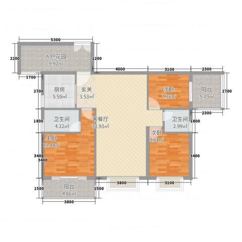 浅水湾・中央公园3室1厅2卫1厨122.00㎡户型图