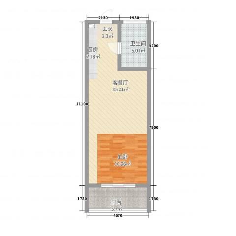 广联翠屿1厅1卫0厨62.00㎡户型图
