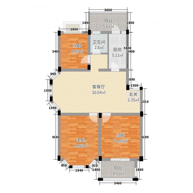 盛世莲花1231.20㎡1、2、3#G户型3室2厅1卫1厨