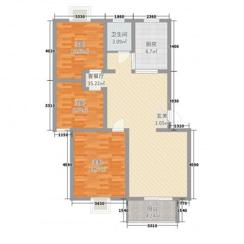 广联翠屿3室1厅1卫1厨83.55㎡户型图