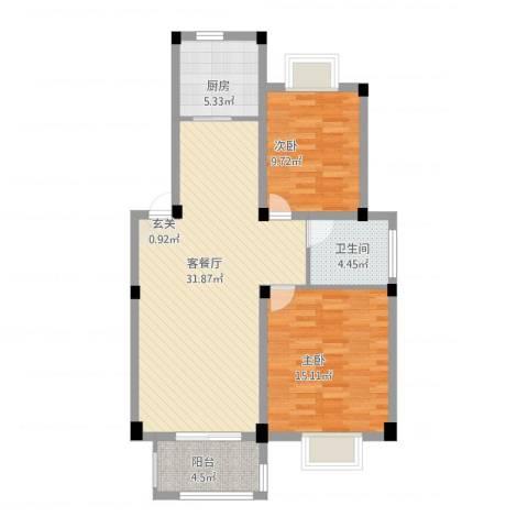 鼎邦家和园2室1厅1卫1厨101.00㎡户型图