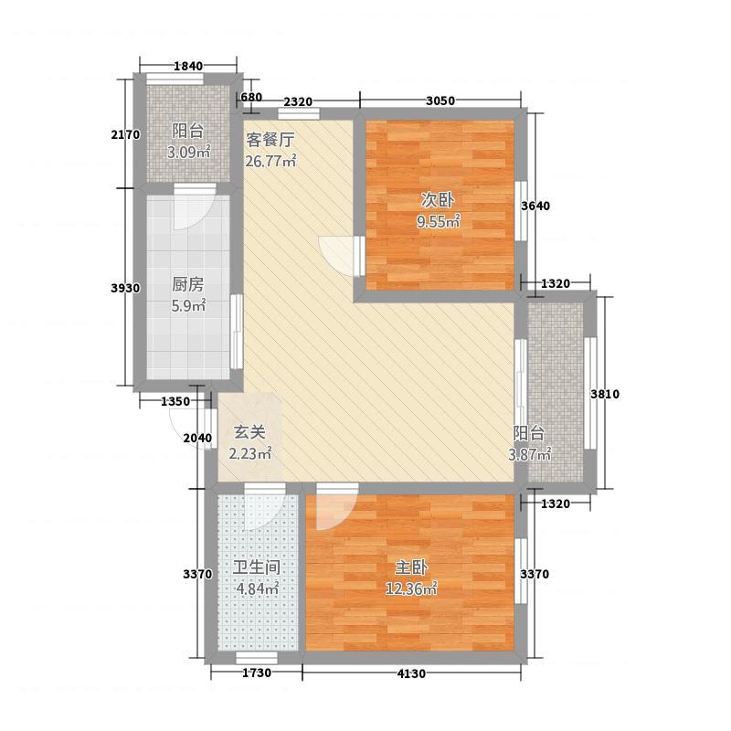 罗马太阳城8.62㎡(5)户型2室2厅1卫1厨