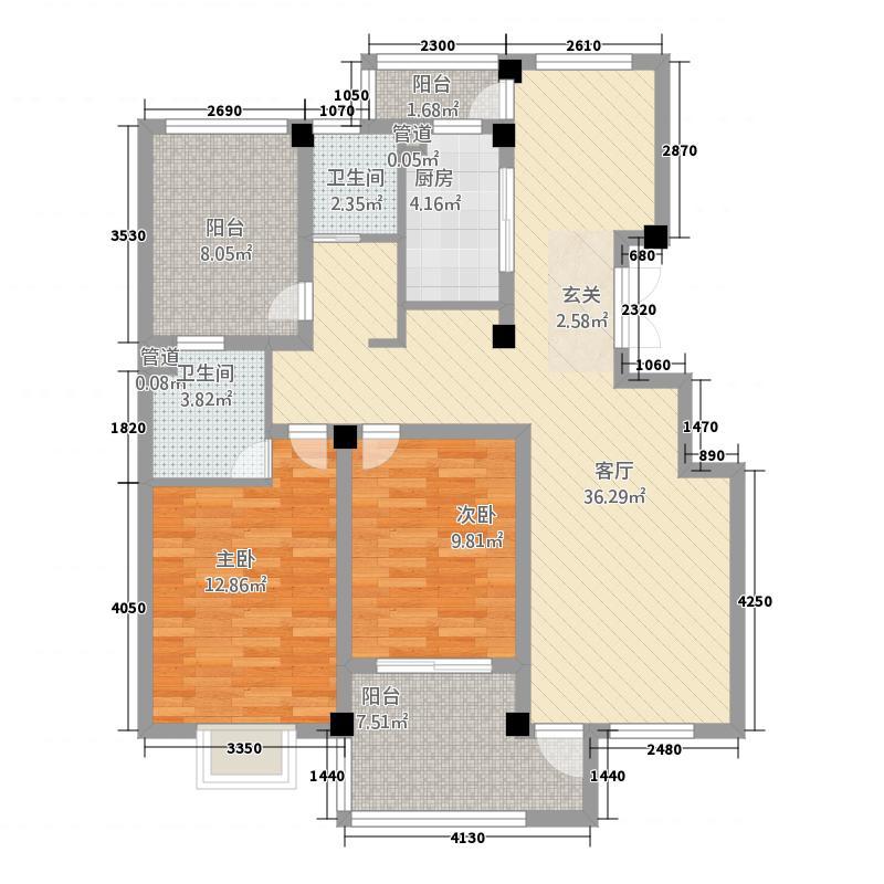 恒基・未来城126.38㎡3户型2室2厅1卫1厨