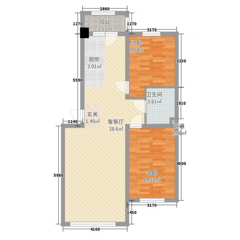 罗马太阳城24.53㎡户型2室2厅1卫1厨