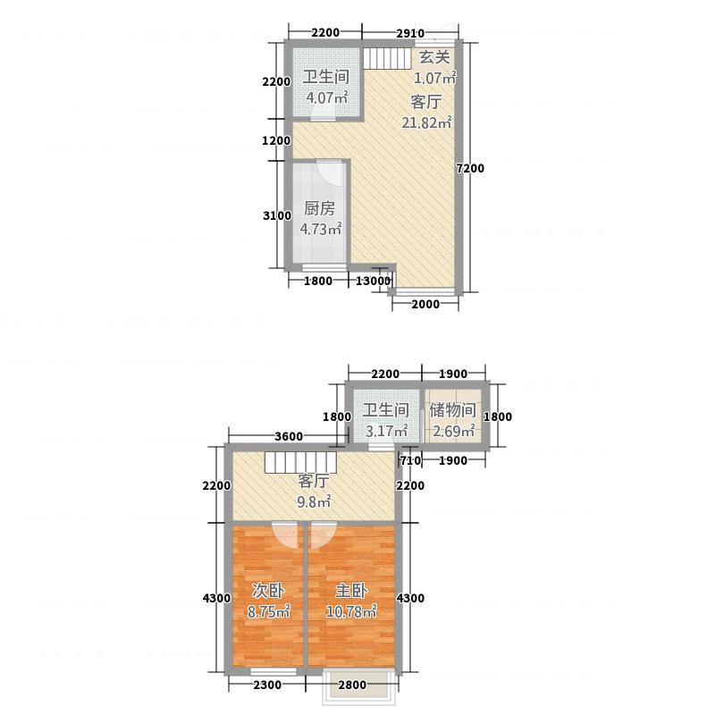 西岸国际45.53㎡04户型2室2厅2卫1厨