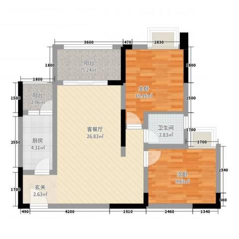 金九・南滨花园2室1厅1卫1厨87.00㎡户型图
