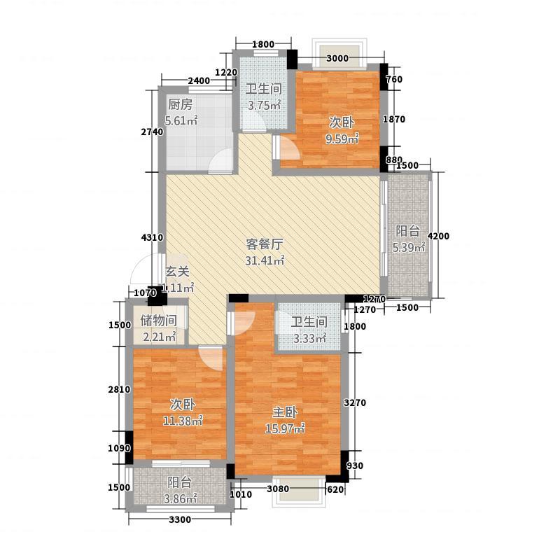 紫悦城11118.20㎡10#楼E-1户型3室2厅2卫1厨