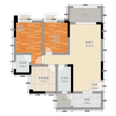 金九・南滨花园2室1厅2卫1厨79.02㎡户型图