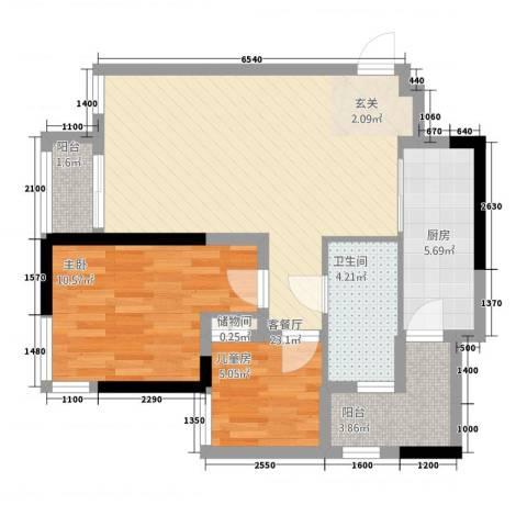 晟凡・兴龙湖一号2室1厅1卫1厨75.00㎡户型图