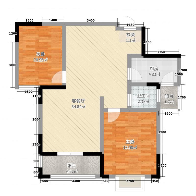 程力・水岸国际(3)户型2室2厅1卫