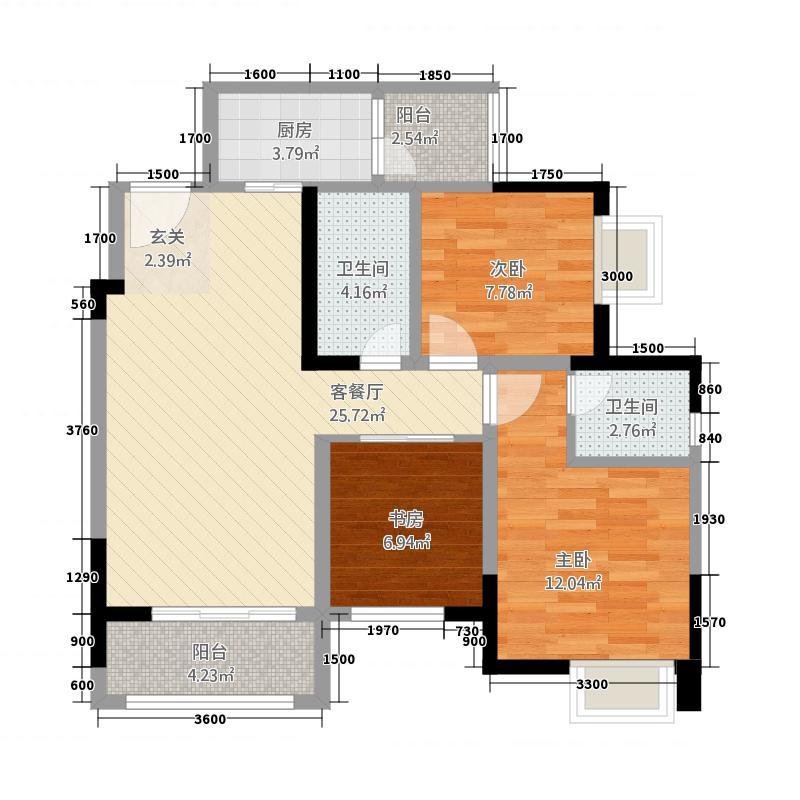 金九・南滨花园7号楼6号房户型3室2厅2卫1厨