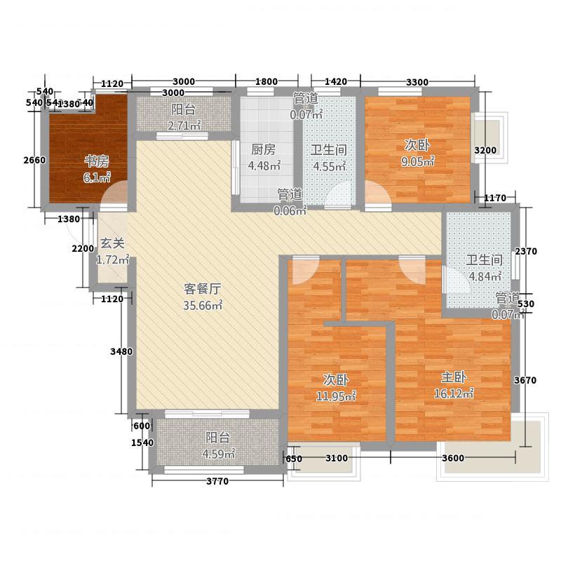 自然界6414.20㎡6号楼C4户型3室2厅2卫1厨