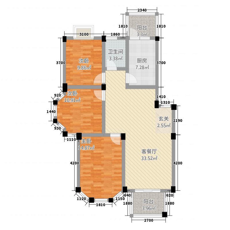 盛世莲花567812.19㎡5、6、7、8、9#H户型3室2厅1卫1厨