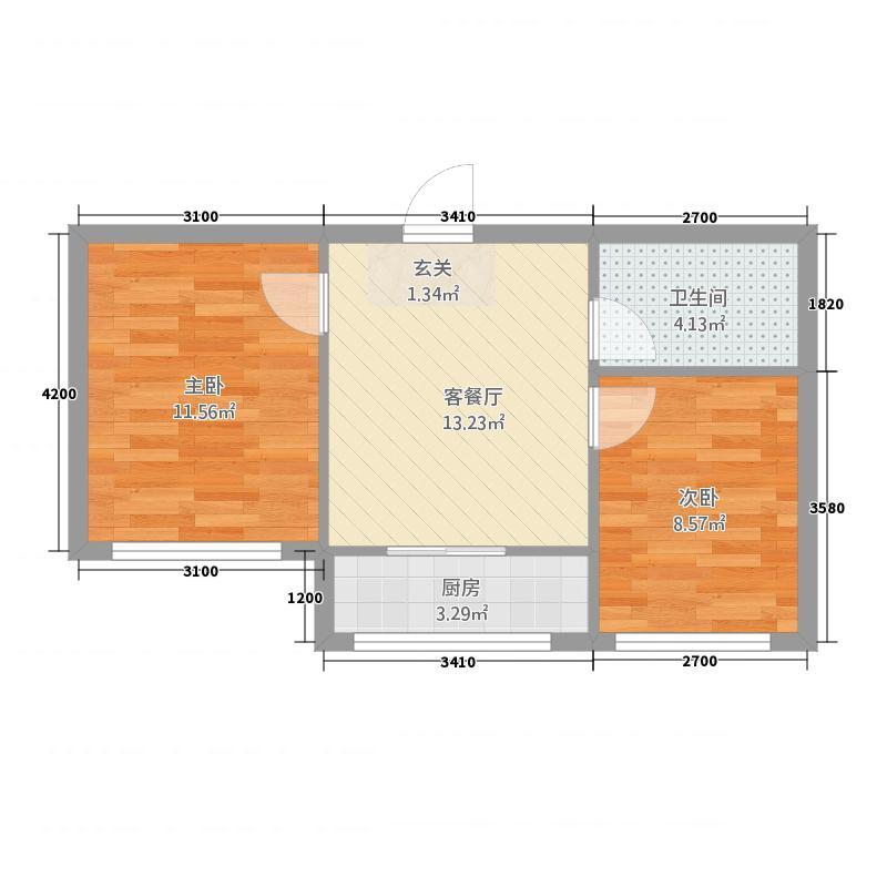 红星港城御园5.46㎡B户型2室1厅1卫