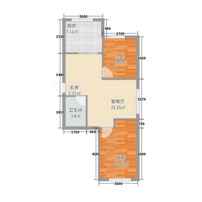 红星港城御园78.52㎡C户型2室2厅1卫