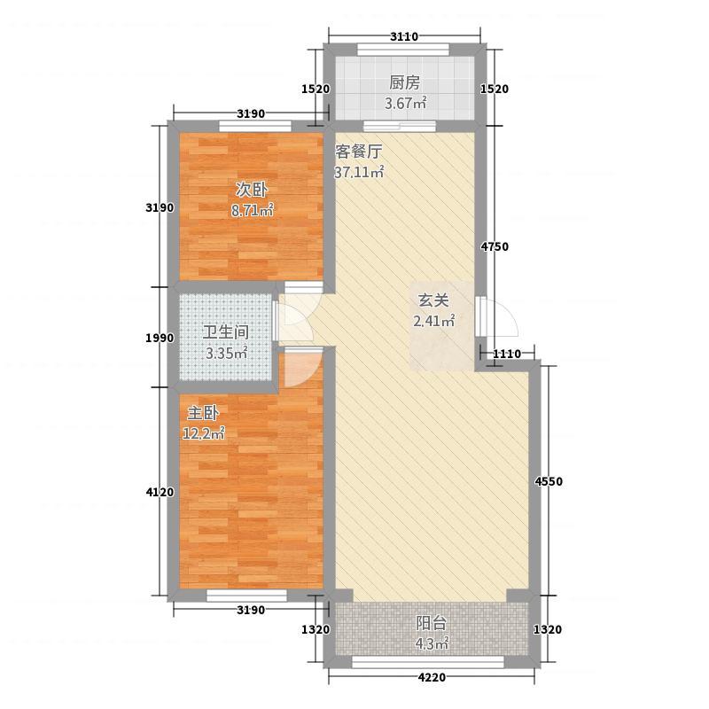 黄金海岸3.00㎡户型2室2厅