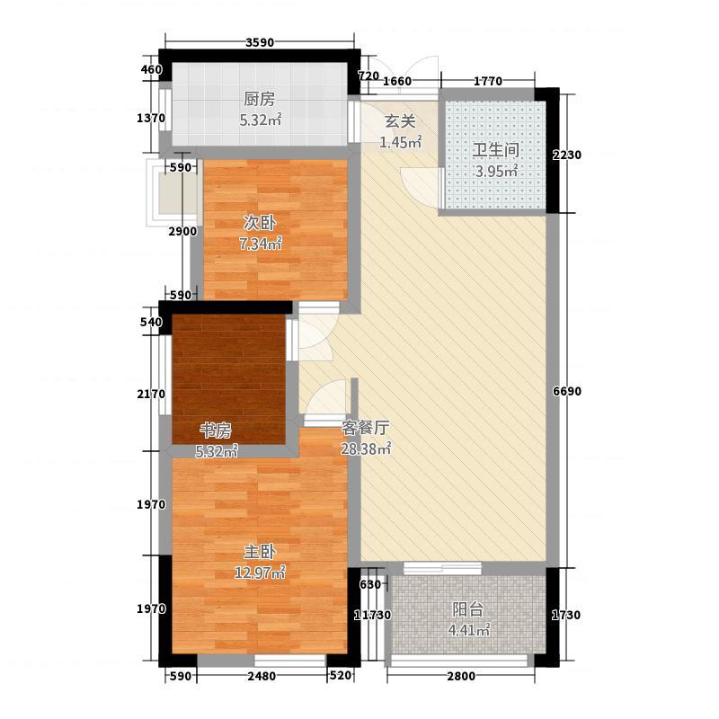 茶庄印象2222.56㎡2号楼户型2室2厅1卫1厨