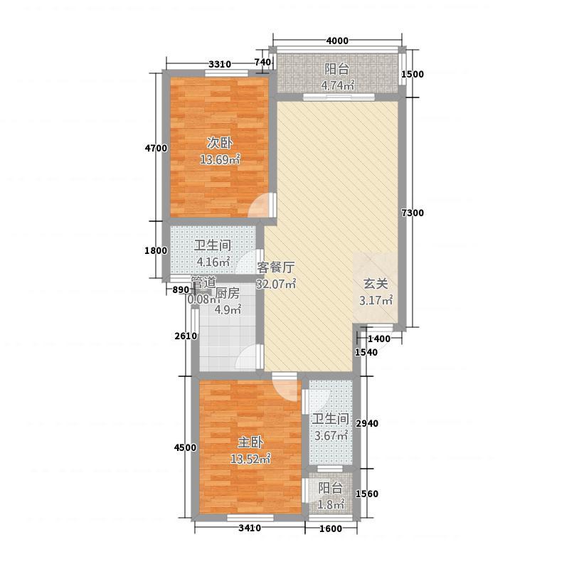 盛世新城21.71㎡2#楼D户型2室2厅2卫1厨
